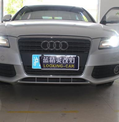 奥迪A4改灯 贝雷帽上海蓝精灵升级21点博世透镜欧司朗氙气灯