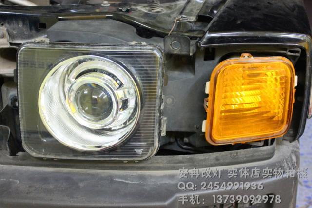 悍马H3大灯改装 悍马H3改双光透镜 长沙改灯