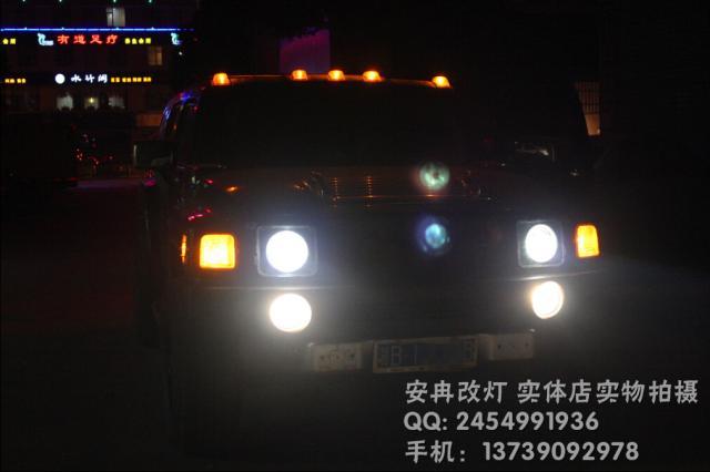 悍马H3大灯改装 悍马H3改双光透镜 湘潭改灯