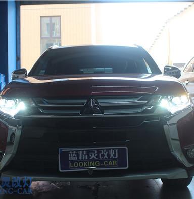 三菱欧蓝德改装氙气灯 升级六眼大灯 上海改灯 蓝精灵改装大灯总成