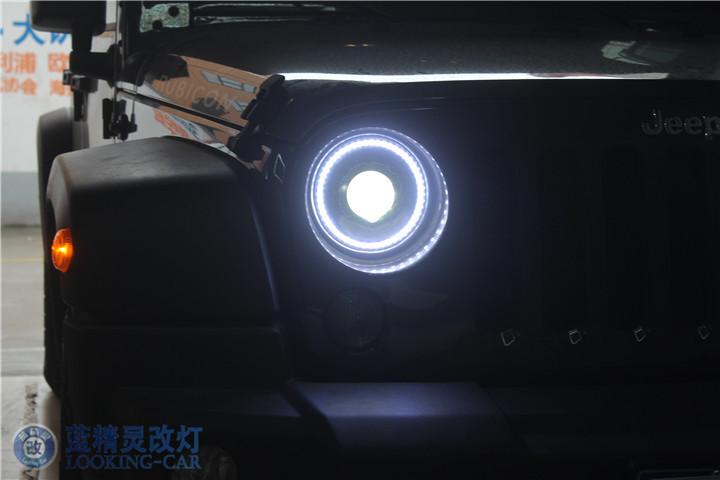 jeep牧马人改装大灯 上海汽车灯光改装 蓝精灵改装氙气灯 南通改灯