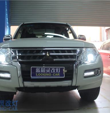 三菱帕杰罗车灯升级 上海汽车灯光改装 蓝精灵LED大灯升级 奉贤改装车灯