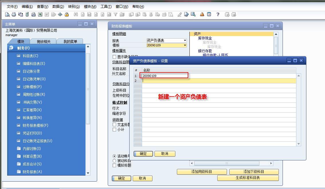 SAP财务报表模板创建