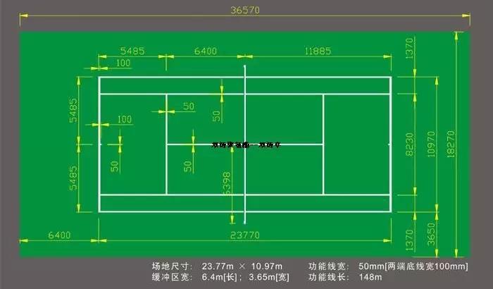 塑胶网球场标准尺寸