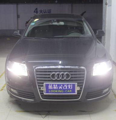 奥迪A6LED车灯改装上海蓝精灵改装米石LED双光透镜