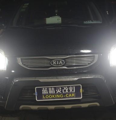 起亚狮跑车灯改装海拉5双光透镜飞利浦氙气大灯加白色天使眼