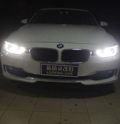 上海宝马3系改装大灯总成原车低配卤素灯升级高配氙气大灯加白色天使眼