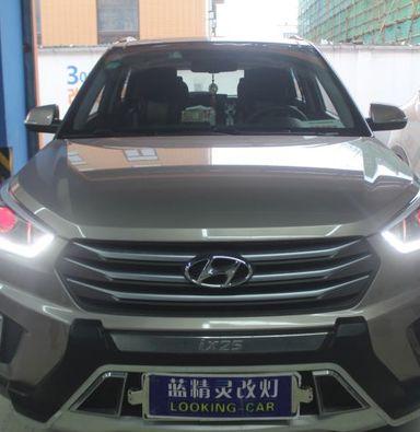 现代IX25车灯改装蓝定制海拉5双光透镜海拉D15000k氙气大灯