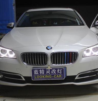 宝马5系车灯改装海拉5双光透镜飞利浦氙气大灯加白色天使眼