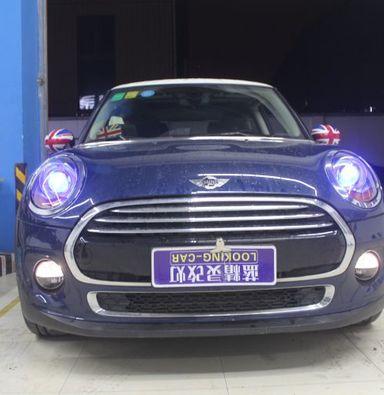 宝马MINI车灯改装蓝定制海拉5双光透镜飞利浦XV4800K氙气大灯加蓝色恶魔眼