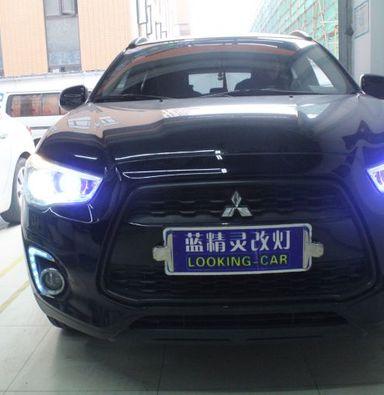 上海三菱劲炫改车灯欧司朗氙气大灯远光改奥兹母蓝色LED远光模组