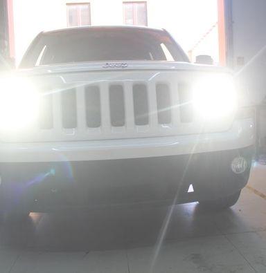 吉普自由光车灯改装蓝定制透镜欧司朗氙气大灯