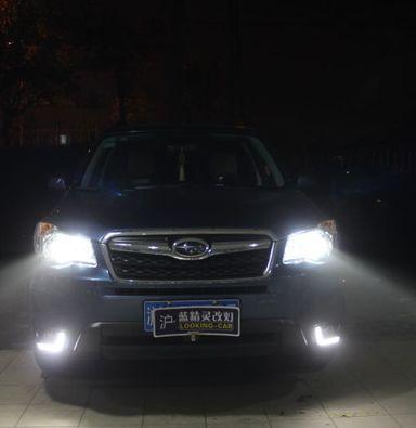 斯巴鲁森林人车灯改装Q5双光透镜欧司朗氙气大灯