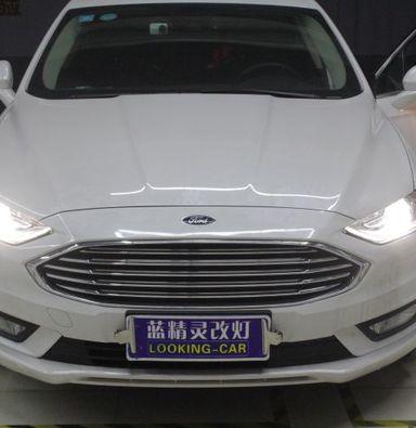 上海新蒙迪欧车灯改装蓝定制透镜欧司朗氙气大灯