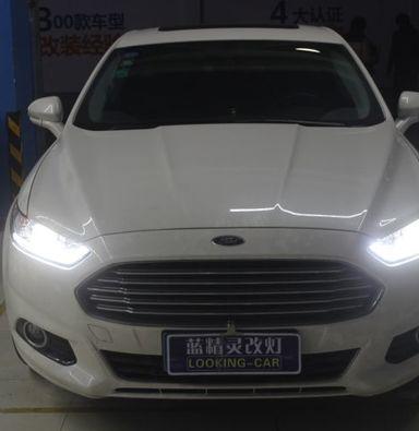 新蒙迪欧LED车灯改装上海蓝精灵改氙明双光透镜加流光日行灯
