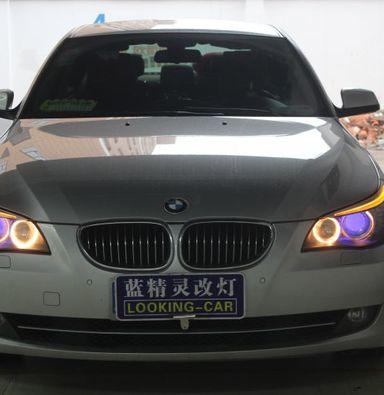 上海蓝精灵改装大灯总成宝马5系改欧司朗氙气大灯加蓝色恶魔眼