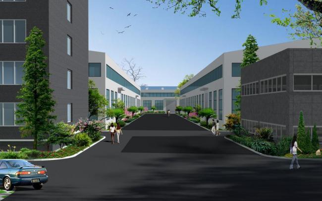 室外设计:对厂房外墙,颜色,装饰造型,园林绿化景观,以及在原有建筑物