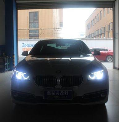 上海车友宝马5系改装四透镜升级立盯LED大灯