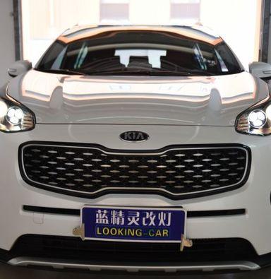 上海地区升级大灯总成起亚KX5改装海拉氙气大灯