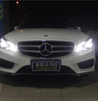 奔驰E260升级高配LED智能大灯总成 贝雷帽德系上海蓝精灵