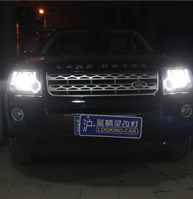 上海路虎神行者2改大灯海拉五双光透镜欧司朗氙气灯蓝精灵改灯