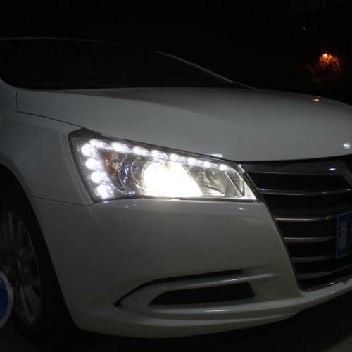 纳智捷大五上海改氙气灯 上海蓝精灵升级q5透镜欧司朗氙气车灯
