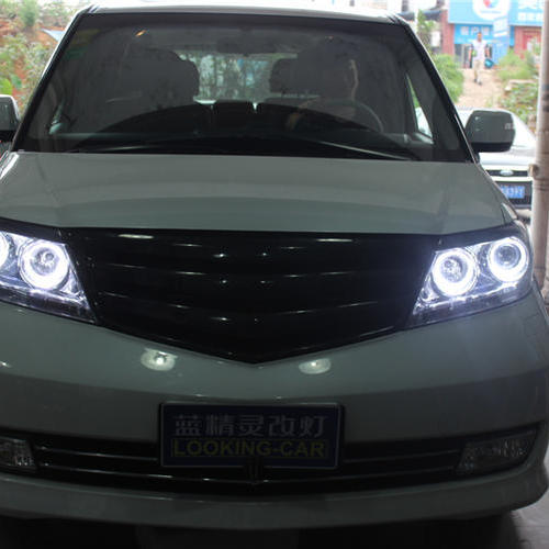 长沙改灯本田艾力绅车灯改装海拉5双光透镜欧司朗氙气大灯 LED光导天使眼
