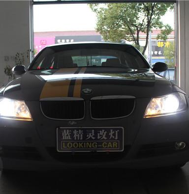 宝马3系E90大灯改装上海蓝精灵改灯q5透镜氙气灯天使眼大灯