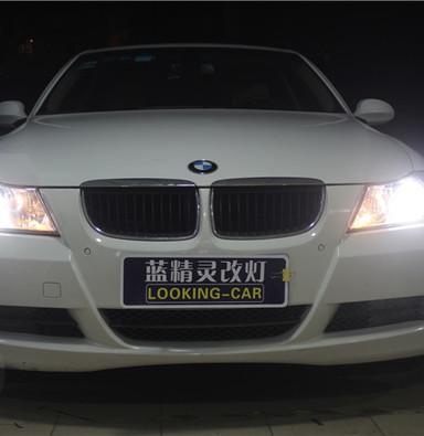 宝马320改氙气灯 上海蓝精灵改灯q5透镜欧司朗氙气灯天使眼