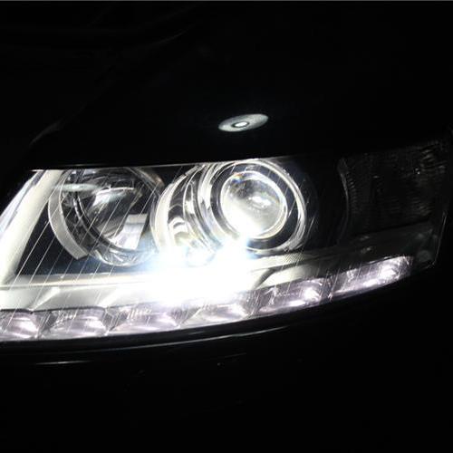 11款奥迪A6L免开灯升级海拉5双光透镜+欧司朗CBI顶级氙灯 长沙改灯蓝精灵