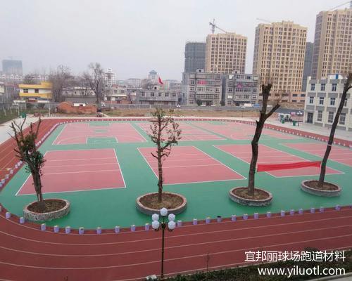 安徽阜陽臨泉文峰中學硅pu球場和塑膠跑道竣工