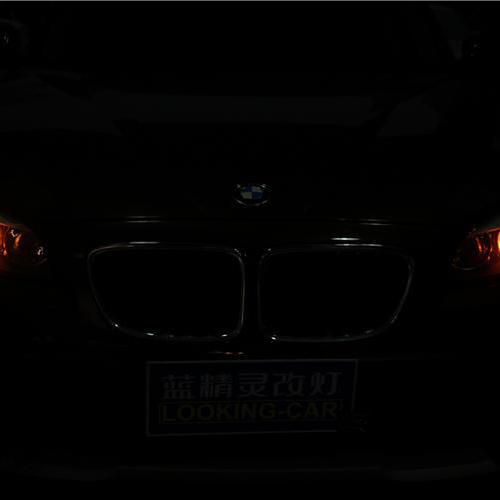 长沙宝马X1改灯升级蓝精灵蓝一号骨灰级配置 长沙蓝精灵改灯 专业车灯升级