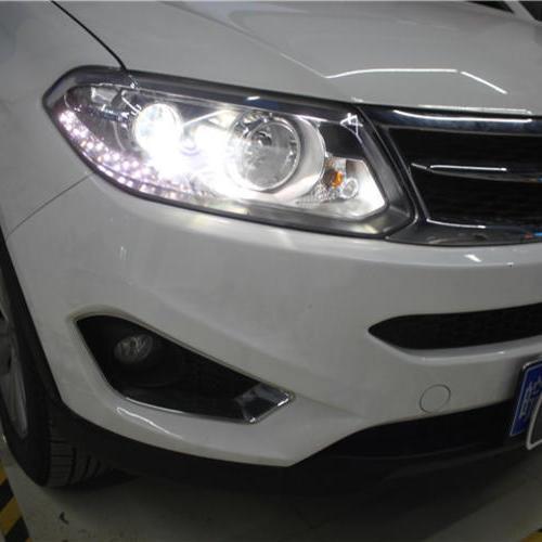 瑞虎5车灯改装上海蓝精灵改灯 蓝精灵定制海拉五双光透镜氙气大灯