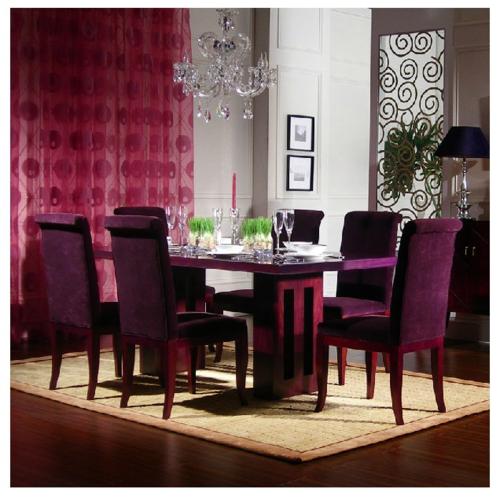 紫色長方形吃飯桌子