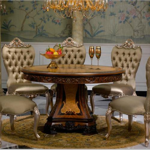 法式圓形餐桌椅組合