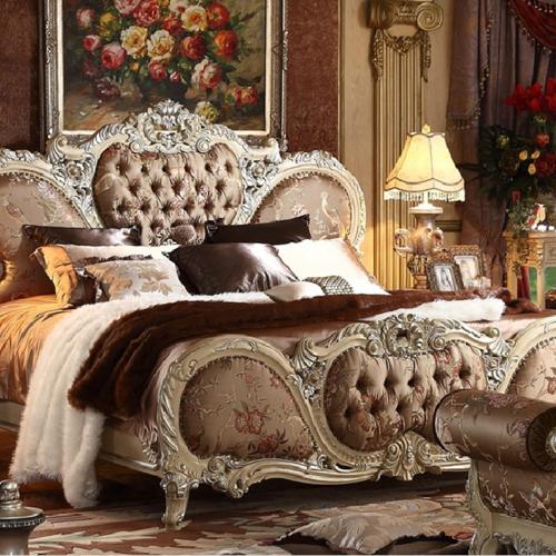 實木雙人床布藝法式床