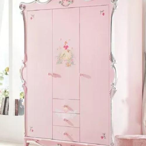 粉色木質3門衣櫥