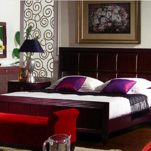 原木真皮軟靠背婚現代中式 實 18米大床
