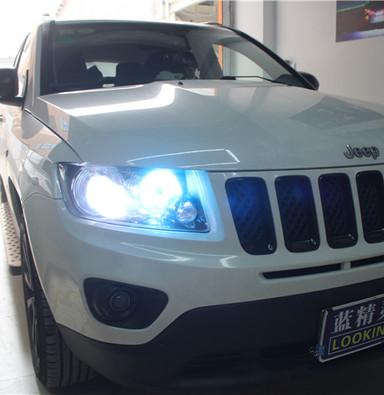 jeep指南者改车灯 上海蓝精灵改装大灯 蓝精灵定制海拉五双光透镜氙气大灯