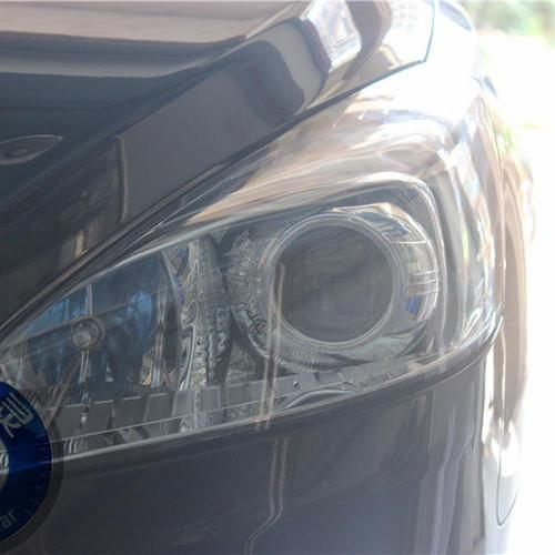 标致508改灯 升级双光透镜氙气灯+LED红色恶魔眼 长沙蓝精灵改灯