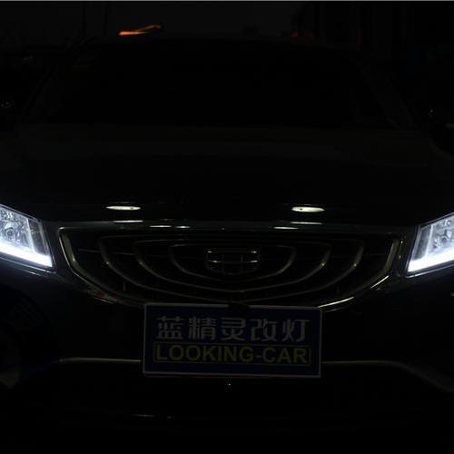 吉利博瑞改Q5双光透镜氙气灯 改LED泪眼光导日行灯 长沙专业改灯