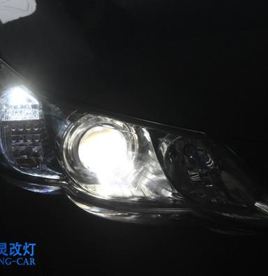 丰田锐志车灯改装海拉五双光透镜欧司朗CBI氙气灯远光灯 上海蓝精灵改氙气灯