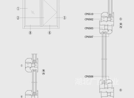 CP65穿條平開窗結構圖