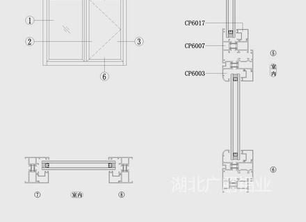 CP60穿条内倒窗结构图