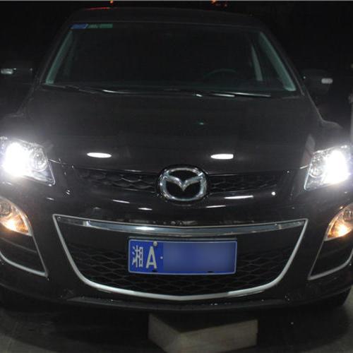 长沙马自达CX-7改灯大灯改装海拉五双光透镜欧司朗氙气大灯 长沙蓝精灵改灯