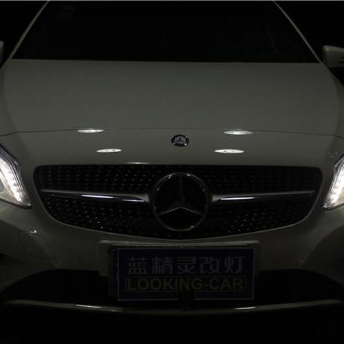 长沙奔驰A180升级高配氙气大灯总成 LED尾灯 奔驰A180改灯车灯升级 蓝精灵改灯