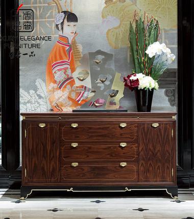 香奢一品家具新中式玄关门厅/玄关柜高端实木餐边柜定制XZS-141