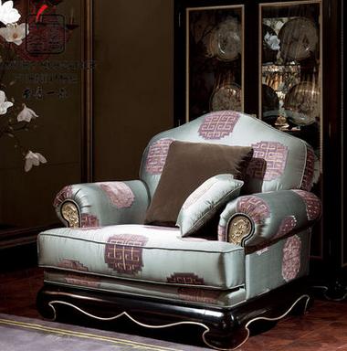 香奢一品高端定制新中式沙发客厅实木布艺软包单人沙发XZS-142