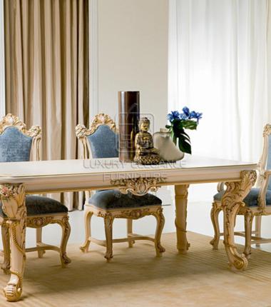 香奢一品高端定制家具意大利古典餐桌实木长方形餐桌YDLGD-010