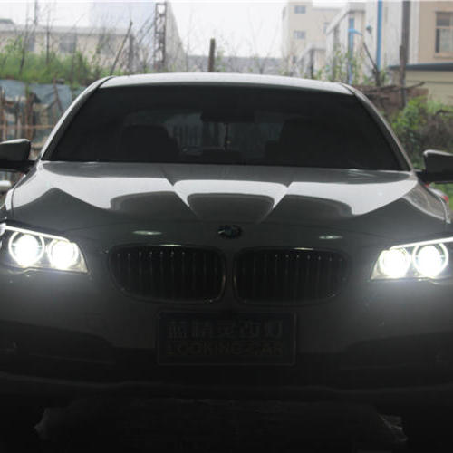 长沙宝马520改灯车灯改装4个海拉五透镜配欧司朗CBI氙气灯泡 宝马520改车灯 蓝精灵改灯